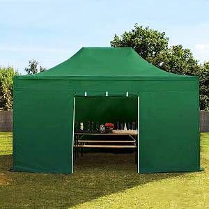 Intent24 Tente pliante / pliable PREMIUM 3x4,5 m sans fenêtre en Polyester de qualité vert fonce.FR