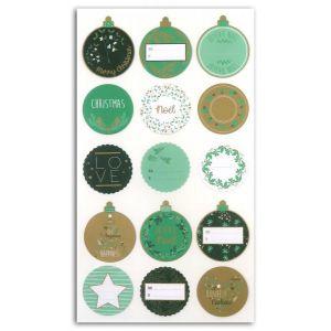 Toga Stickers étiquettes or et vert - 15 pcs