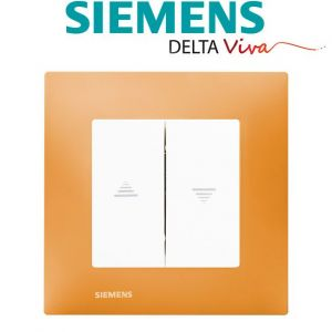 Siemens Interrupteur Volet Roulant Blanc Delta Viva + Plaque Orange