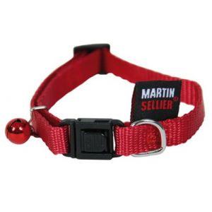 Martin Sellier Collier pour chat - nylon uni rouge (20/30cm x 10mm)