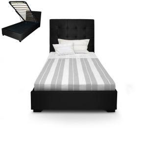 Menzzo Lit coffre avec tête de lit capitonné en cuir (90 x 190 cm)