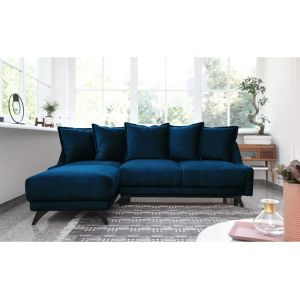 Bobochic NEW ENGLAND - Canapé angle gauche Convertible avec coffre bleu marine