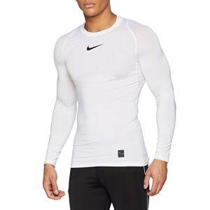 Nike Pro T-Shirt à Manches Longues Homme, Blanc/Noir/Noir, FR : XL (Taille Fabricant : XL)