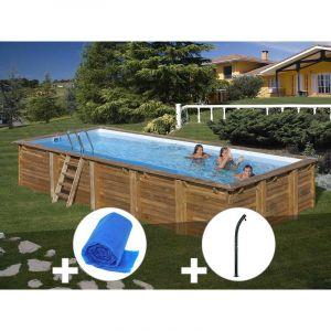 Sunbay Kit piscine bois Braga 8,00 x 4,00 x 1,46 m + Bâche à bulles + Douche