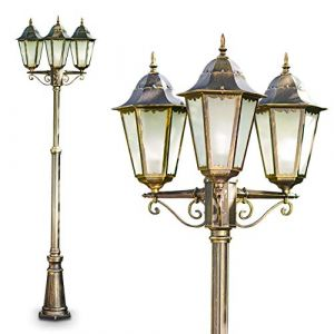 Hofstein Lampadaire extérieur Hong Kong Frost en fonte d'alluminium de couleur bronze/marron/doré et verres opales, Réverbère à 3 têtes avec la hauteur réglable, Luminaire pour chemin, sentier, terrasse