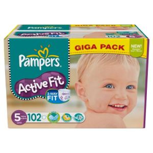 Pampers Active Fit taille 5 Junior (11-25 kg) - Giga pack x 102 couches