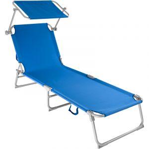 TecTake Chaise longue de jardin, Transat, Bain de soleil, Pare Soleil, Multi positions, Pliable 190 cm Bleu