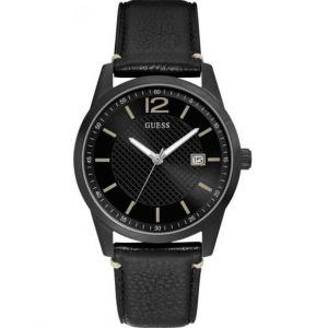 Guess Montre W1186G2 - PERRY Boitier Acier Noir Bracelet Cuir Noir Cadran Noir Homme