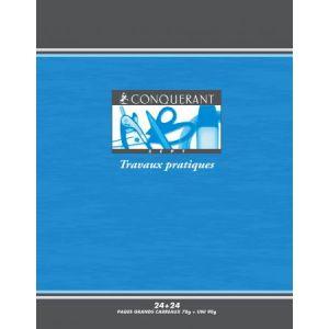 Conquerant 100100974 - Cahier Sept T.P. piqué 170x220 48p./24 feuilles 70/90g/m², Séyès/uni