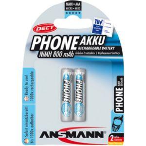 Ansmann LR03 NiMH 2x AAA - Batteries rechargeables pour téléphone 800mAh