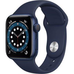 Apple Watch Series 6 GPS, 40mm boitier aluminium bleu avec bracelet sport bleu marine