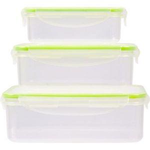 EssentielB Boîte de conservation 3 boîtes plastiques rectangles
