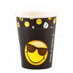 8 gobelets en carton Smiley Emoticons 250 ml
