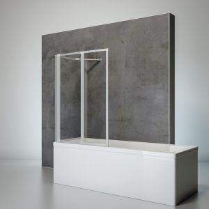 Schulte-ufer Pare baignoire pivotant, paroi de baignoire rabattable, écran de baignoire, profilé alu-argenté, 2 volets pliants et une paroi latérale, 87x70X120 cm, Schulte