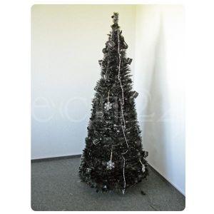 Fdl Arbre de Noël décoré et illuminé noir (180 cm)