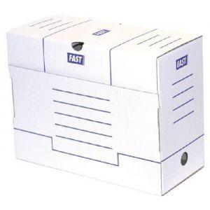 Fast 100725877 - Lot de 25 boîtes à archives A4, dos 150mm, carton blanc/bleu