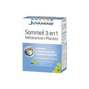 Juvamine Sommeil 3 en 1 Mélatonine + Plantes 30 gélules