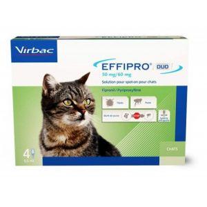 Virbac Effipro soin antiparasitaire pour chats - Boîte de 4 pipettes