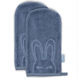 Jollein Lot de 2 gants de toilette Sweet bunny bleu