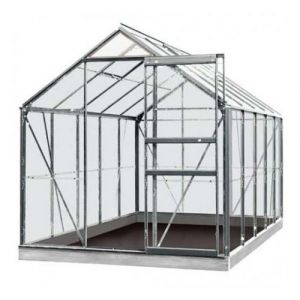 ACD Serre de jardin en verre trempé Lily - 6,20m², Couleur Gris, Base Sans base - longueur : 3m19