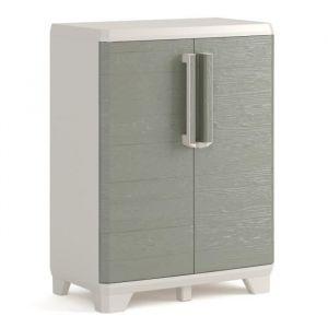 Keter Armoire basse de rangement - Wood Grain - Texture bois - 2 portes - pieds ajustables - verouillable - Gris