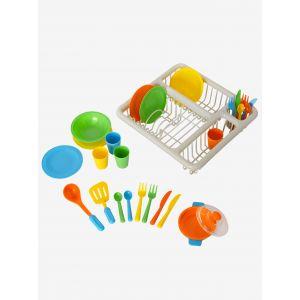 Vertbaudet Set vaisselle et égouttoir en plastique pour dinette