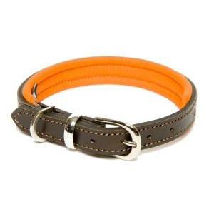Dogs & Horses Colours Collier pour chien en cuir Marron/orange