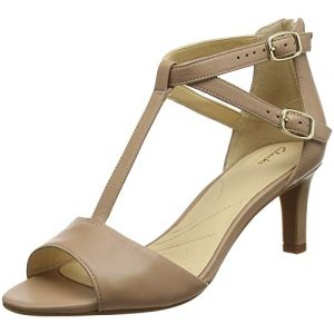 Clarks Laureti Pearl, Sandales Bride Cheville Femme (Beige Leather), 39.5 EU