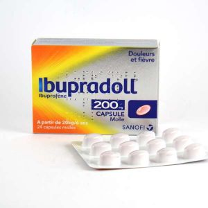 Sanofi Ibupradoll 200 mg - Capsule molle Ibuprofène - Boite de 24