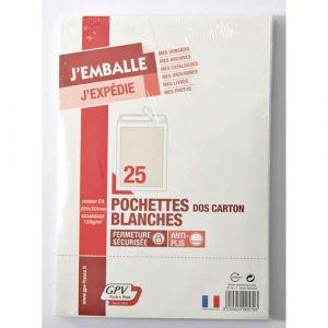 Gpv 570 - Pochette dos carton Pack'n Post 229x324, 120 g/m², coloris blanc - paquet de 25