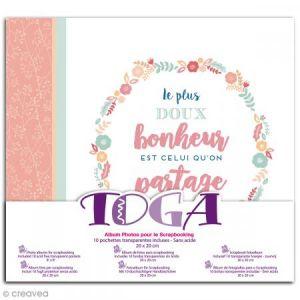 Toga Album bonheur- 20x20cm - 1 album de scrapbooking 20 x 20 cm rose et blanc, monté avec 10 pochettes transparentes