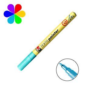 Marabu 011603095 - Marqueur pour tissu Textil Painter, bleu azur, pointe ogive 1-2 mm
