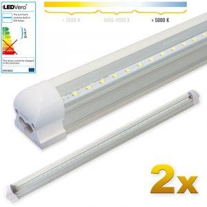 Ledvero 2x SMD réglettes lumineuses LED T8 G13 tube en blanc froid couvercle transparent - 90 cm, 14 W, 1400lumen- prêt pour l'installation