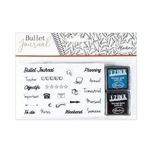 Aladine Stampo Bullet Journal Organisation de Bureau - Planche de Tampons Bullet Journal - Kit Scrapbooking et DIY - Personnalisez Vos Agendas et Carnets - 2 Encreurs Séchage Rapide Inclus