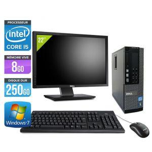 Dell Optiplex 7010 SFF + Ecran 22'' - Intel Core i5-3470 / 3.20 GHz - RAM 4 Go - HDD 250 Go - DVDRW - GigaBit Ethernet - Windows 10 Professionnel