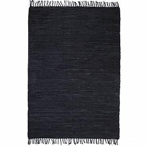 VidaXL Tapis Chindi tissé à la main Cuir 120 x 170 cm Noir