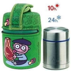 Laken Katuki saguyaki%u2013Thermo enfant pour solides 0,5L avec housse en néoprène vert et tapa-bol