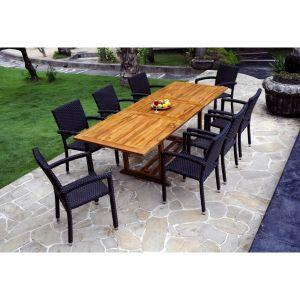 Wood-en-stock Table de jardin en teck huilé avec 8 fauteuils en ...