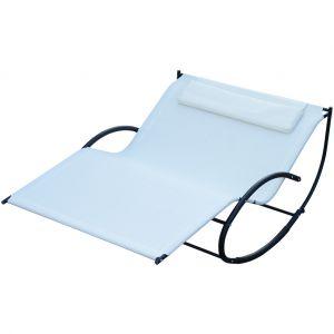 Outsunny Bain de soleil transat à bascule 2 places design contemporain assise dossier ergonomiques oreiller fourni textilène métal noir et crème 200L x 140l x 85H cm neuf 27