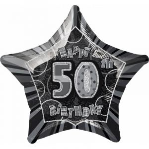 Unique Party 55153 - Ballon anniversaire Happy 50th Birthday - 50 cm - Noir Glitz