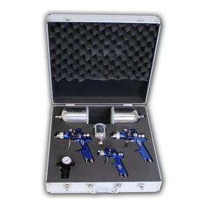 Set de 3 pistolets de laquage avec coffret aluminium 0,8 mm + 1,3 mm + 1,7 mm - HELLOSHOP26