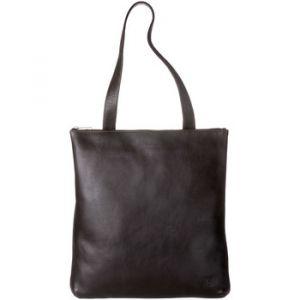 Dudu Sac Shopper à porter épaule pour femme en cuir véritable Grand et Spacieux avec fermeture éclair zip Brun foncé