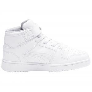 Puma Baskets Rebound Layup Sl Velcro Ps White / Black / Gray Violet - EU 30