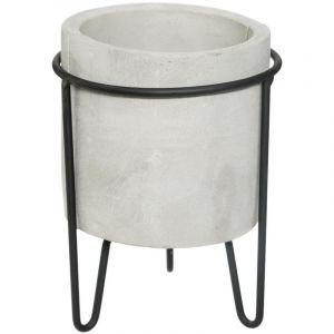 """Cache-Pot en Ciment sur Pied """"Oléa"""" 17cm Gris"""