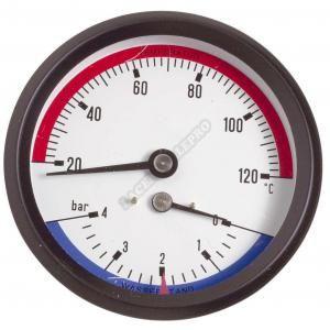 """Thermador Manothermomètre Axial Mâle 1/2""""""""- Ø80mm 0 à 4bar - 0 à 120°C"""