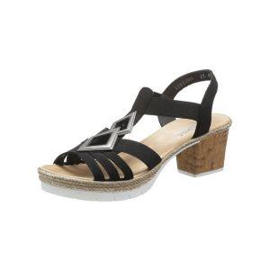 Rieker : sandalettes - Noir