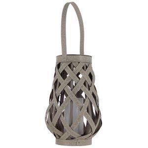 Xanlite Lanterne solaire, effet bois tressée et bougie LED intégrée |