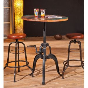 Fundos - Table de bar ronde en bois massif relevable