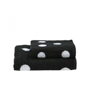 Done Daily Shapes DOTS 1 serviette de toilette + 1 drap douche - Noir et Blanc
