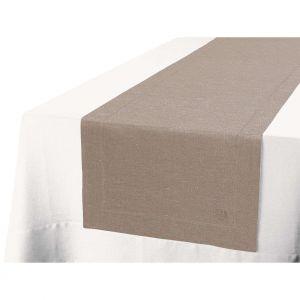 Blanc Cerise Chemin de table sable argenté - lin - uni, brodé 50x180 cm Beige